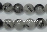 CRU55 15.5 inches 14mm round black rutilated quartz beads wholesale