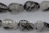 CRU70 15.5 inches 13*18mm teardrop black rutilated quartz beads