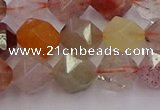 CRU778 15.5 inches 10mm faceted nuggets mixed rutilated quartz beads