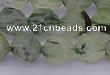 CRU793 15.5 inches 10mm faceted nuggets green rutilated quartz beads