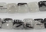 CRU85 15.5 inches 12*12mm square black rutilated quartz beads