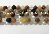 CRU914 15.5 inches 11mm faceted round mixed rutilated quartz beads