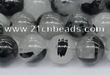 CRU954 15.5 inches 6mm round black rutilated quartz beads