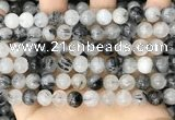CRU962 15.5 inches 8mm round black rutilated quartz beads