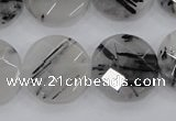 CRU98 15.5 inches 22mm faceted coin black rutilated quartz beads