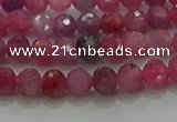 CRZ1120 15.5 inches 4mm faceted round natural ruby gemstone beads