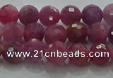 CRZ1121 15.5 inches 5mm faceted round natural ruby gemstone beads