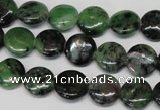 CRZ24 15.5 inches 12mm flat round ruby zoisite gemstone beads