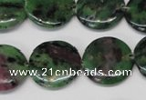 CRZ28 15.5 inches 20mm flat round ruby zoisite gemstone beads