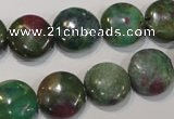 CRZ623 15.5 inches 14mm flat round New ruby zoisite gemstone beads