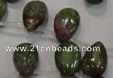 CRZ650 Top-drilled 12*18mm flat teardrop New ruby zoisite gemstone beads