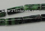 CRZ71 15.5 inches 8*20mm flat tube ruby zoisite gemstone beads