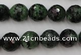 CRZ742 15.5 inches 13mm faceted round ruby zoisite gemstone beads