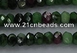 CRZ752 15.5 inches 3*5mm faceted rondelle ruby zoisite beads