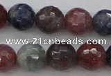 CRZ882 15.5 inches 8mm faceted round natural ruby sapphire beads
