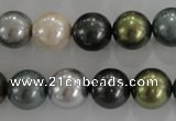 CSB1086 15.5 inches 12mm round mixed color shell pearl beads