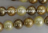 CSB1100 15.5 inches 12mm round mixed color shell pearl beads