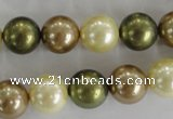 CSB1106 15.5 inches 12mm round mixed color shell pearl beads