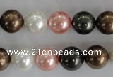 CSB1111 15.5 inches 12mm round mixed color shell pearl beads