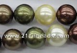 CSB1128 15.5 inches 14mm round mixed color shell pearl beads