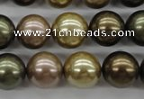 CSB1134 15.5 inches 14mm round mixed color shell pearl beads