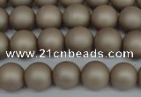 CSB1320 15.5 inches 4mm matte round shell pearl beads wholesale