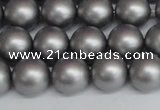 CSB1443 15.5 inches 10mm matte round shell pearl beads wholesale