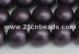 CSB1449 15.5 inches 12mm matte round shell pearl beads wholesale