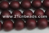 CSB1453 15.5 inches 10mm matte round shell pearl beads wholesale