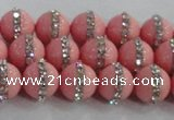 CSB1505 15.5 inches 6mm round shell pearl with rhinestone beads