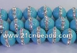 CSB1511 15.5 inches 8mm round shell pearl with rhinestone beads