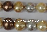 CSB155 15.5 inches 12*15mm – 13*16mm oval mixed color shell pearl beads