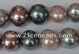 CSB159 15.5 inches 12*15mm – 13*16mm oval mixed color shell pearl beads