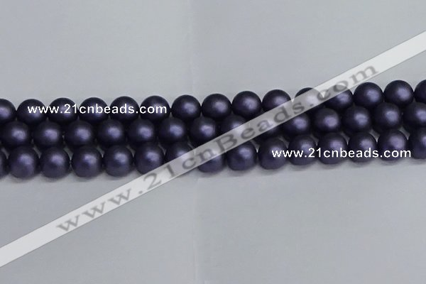 CSB1664 15.5 inches 12mm round matte shell pearl beads wholesale