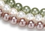 CSB17 16 inches 8mm round shell pearl beads Wholesale