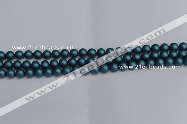 CSB1730 15.5 inches 4mm round matte shell pearl beads wholesale