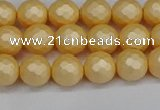 CSB1821 15.5 inches 6mm faceetd round matte shell pearl beads