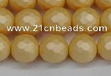 CSB1824 15.5 inches 12mm faceetd round matte shell pearl beads