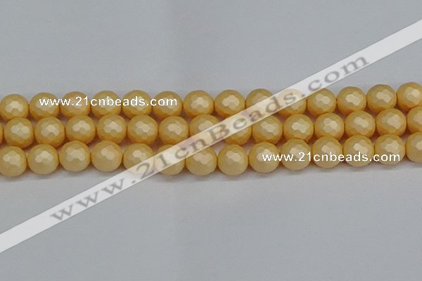 CSB1825 15.5 inches 14mm faceetd round matte shell pearl beads