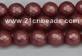 CSB1861 15.5 inches 6mm faceetd round matte shell pearl beads