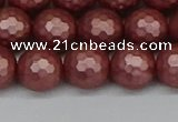 CSB1863 15.5 inches 10mm faceetd round matte shell pearl beads