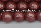CSB1864 15.5 inches 12mm faceetd round matte shell pearl beads