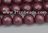 CSB1871 15.5 inches 6mm faceetd round matte shell pearl beads