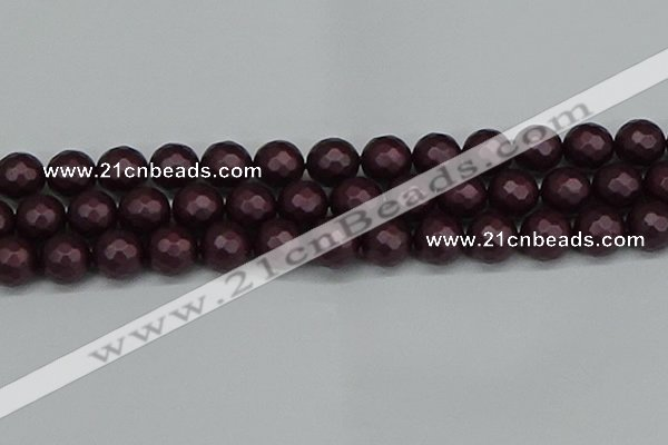CSB1885 15.5 inches 14mm faceted round matte shell pearl beads