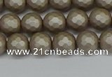CSB1902 15.5 inches 8mm faceted round matte shell pearl beads
