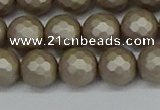 CSB1904 15.5 inches 12mm faceted round matte shell pearl beads