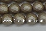 CSB1905 15.5 inches 14mm faceted round matte shell pearl beads