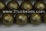 CSB1914 15.5 inches 12mm faceted round matte shell pearl beads