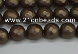 CSB1922 15.5 inches 8mm faceted round matte shell pearl beads