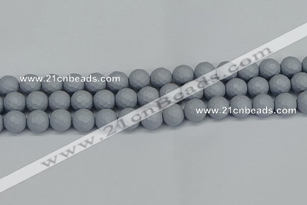 CSB1935 15.5 inches 14mm faceted round matte shell pearl beads